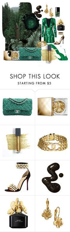 """IS green the NEw BLACk?"" by louisematsson ❤ liked on Polyvore featuring Chanel, Burberry, Bite, Christian Louboutin, Marc Jacobs and 2028"