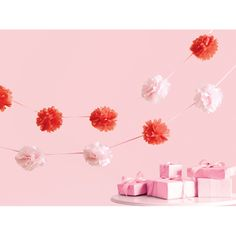 Martha Stewart Vintage Girl Pink and Red Pom Pom Garland- Pink Frosting Wedding Decorations