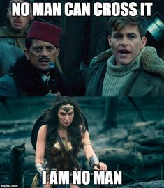 No Man's Land. A LOTR reference. That's literally what I thought during this part when I watched the movie Wonder Woman Quotes, Wonder Woman Movie, Wonder Woman Funny, Gal Gadot Wonder Woman, No Mans Land, Superman, Batman, Dc Memes, Raining Men
