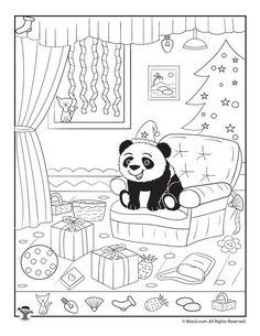 Happy Panda Xmas Hidden Picture Page Hidden Object Puzzles, Hidden Picture Puzzles, Hidden Objects, Panda Activities, Activities For Kids, Preschool Worksheets, Kindergarten Activities, Hidden Pictures Printables, Familia Y Cole