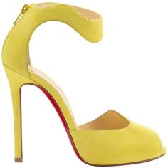 """Christian Louboutin's Spectacular Designs for """"Leonor Fini"""" Sandal Spring/Summer 2014 Fab Shoes, Me Too Shoes, Shoes Heels, Christian Louboutin Shoes Sale, Baskets, Red High Heels, Yellow Shoes, Yellow Sandals, Summer 2014"""