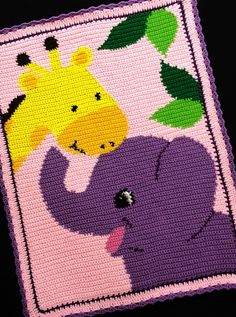 Crochet Patterns - ELEPHANT and GIRAFFE Color Graph BABY GIRL Afghan Pattern
