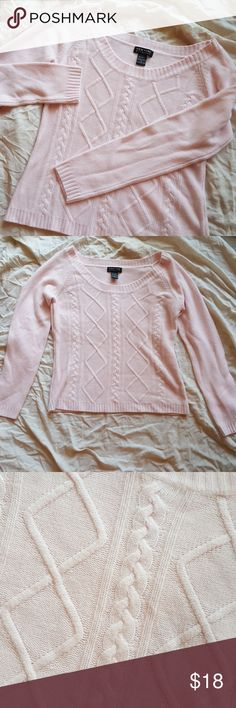 LIKE NEW NY&Co Sweater NY & Company pale pink cable knit sweater in PERFECT condition. I don't remember if I ever wore it. Perfect for layering over button down shirts or on its own. New York & Company Sweaters Crew & Scoop Necks
