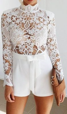 #prefall #muraboutique #outfitideas |  Lace + Bow All White Combo Playsuit