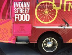 Curry Up Now food truck design by Nicole LaFave. Business Ideas India, Food Business Ideas, Food Truck Business, Food Packaging Design, Brand Packaging, Mobile Food Trucks, Food Vans, Food Truck Design, Indian Street Food
