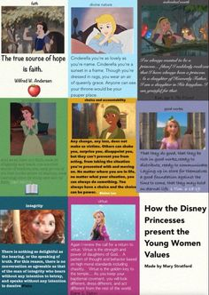 how disney princesses portray the young women values.