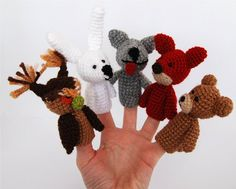 5 animal finger puppet set crocheted owl bunny or by crochAndi,