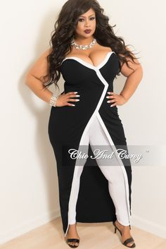 8dabedbf86d Final Sale Plus Size Strapless Faux Wrap Long Dress Top in Black with White  Trim