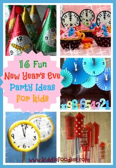 16 Fun New Year's Eve party ideas for kids - Kiddie Foodies! Good ideas for children's New Year's party! New Years With Kids, Kids New Years Eve, New Years Party, New Year's Eve Crafts, Holiday Crafts, Holiday Fun, Holiday Parties, Holiday Ideas, New Year's Eve Celebrations
