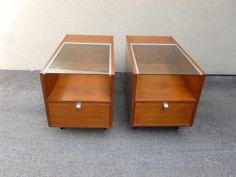 PAIR-EARLY-HERMAN-MILLER-GEORGE-NELSON-GLASS-TOP-END-TABLES-RESTORED