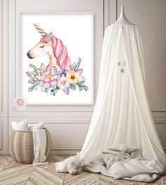 Boho Unicorn Wall Art Print Baby Girl Nursery Ethereal Fantasy Watercolor Room Printable Decor