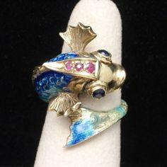 Fish Ring 14k Gold Enamel Rubies Sapphires Vintage Very Detailed | eBay