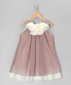 Look what I found on #zulily! Mocha & Cream Floral Yoke Dress - Toddler & Girls #zulilyfinds
