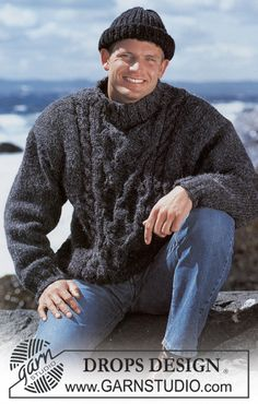 Ravelry: men's jumper with cables pattern - DROPS design-free pattern Pullover Design, Sweater Design, Mens Cable Knit Sweater, Men Sweater, Cable Knitting Patterns, Jumper Patterns, Free Knitting, Magazine Drops, Drops Design