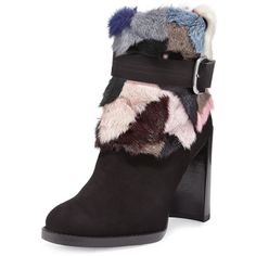 Stuart Weitzman Gofurit Mink-Trim Ankle Boot ($875) ❤ liked on Polyvore featuring shoes, boots, ankle booties, fiesta minkmania, side zip boots, short boots, short brown boots, block heel boots and brown ankle boots