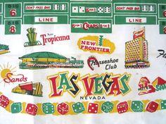 Vintage Tablecloth Souvenir Las Vegas Gambling Casino