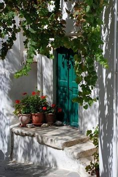 Green door in Naxos Greece