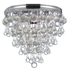 Crystorama Calypso Collection Chrome Brass/Glass 3-light Flush Mount Fixture, Silver