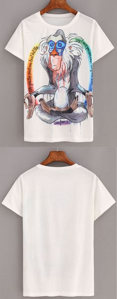 Cartoon Baboon Print White T-shirt