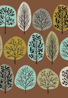 Lollipop Trees Olive, limited edition giclee print by artist Eloise Renouf, so beautiful! Textile Patterns, Print Patterns, Textiles, Lollipop Tree, Doodle Drawing, Impression Textile, Inspiration Art, Tree Print, Art Plastique