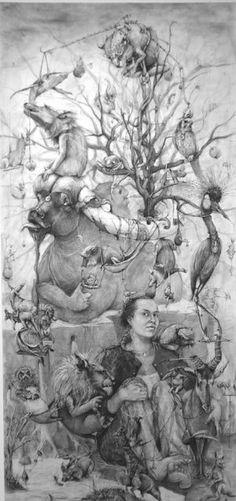 """Adonna Khare , """"Self Portrait,"""" drawing carbon pencil on paper,"""