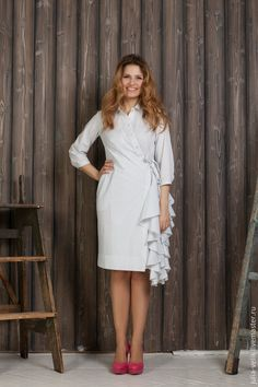 Купить Платье-рубашка Водопад Любви - белый, в полоску, платье коктейльное, платье с запахом