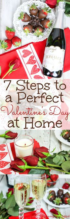 7 Steps to the Perfect Valentine's Day at Home! Great ideas for romantic and fun date nights. Includes directions for DIY chocolate covered strawberries and a romantic dinners menu (vegetarian and non-vegetarian version) for two! Creative, unique and budget friendly! / Running in a Skirt