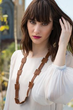 Items similar to Leather Necklace / Chestnut Brown Block Leather Necklace / Long Necklace / Boho Necklace / Statement Necklace on Etsy Leather Accessories, Jewelry Accessories, Unique Jewelry, Leather Necklace, Boho Necklace, Metal Chain, Trending Outfits, Brown, Awesome