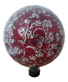 Look what I found on #zulily! Red Flower Pattern Mosaic Glass Gazing Globe #zulilyfinds