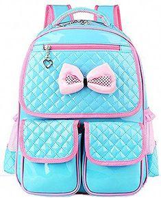 Hot New Kid Girls Princess Backpack Cute Bowknot Faux Leather Book Storage School  Bag 275344dba9c39