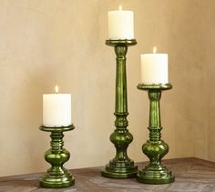 Group a trio of pillar holders for a colorful centerpiece (each sold separately). Pillar Candle Holders, Candle Lanterns, Pillar Candles, Behind The Candelabra, Pottery Barn Style, Colorful Centerpieces, Hanukkah Decorations, Holiday Essentials, Victorian Furniture