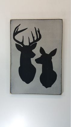 Buck and doe silhouette deer hunter wedding gift by HentgesCrafts