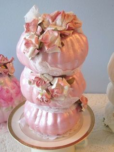 PINK 3 Stacked Pumpkins Shabby Chic Hand by RoseChicFriends, $15.99
