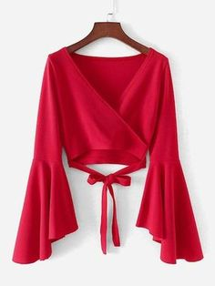 Young Elegant Plain Wrap Top Slim Fit V Neck Long Sleeve Flounce Sleeve Red Crop Length Bell Sleeve Knotted Hem Surplice Blouse Trend Fashion, Teen Fashion Outfits, Stylish Outfits, Fashion Dresses, Cute Outfits, Swag Fashion, Blouse Styles, Blouse Designs, Robes Glamour