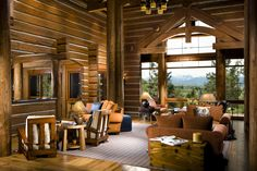 A Luxurious Log Home in Montana is on the Market | Living Room