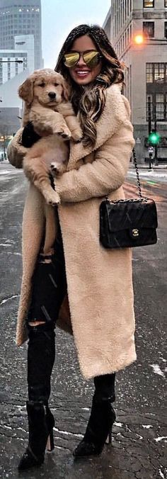 #winter #outfits  beige overcoat and black pants