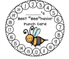 "First Grader.: Best ""Bee""havior Catalog: I COULD see using the ""punch card"" concept with some of my behavior kids Classroom Behavior Chart, Classroom Behavior Management, Behaviour Management, Behavior Plans, Kindergarten Behavior Charts, Classroom Consequences, Positive Behavior Chart, Preschool Behavior, Behavior System"