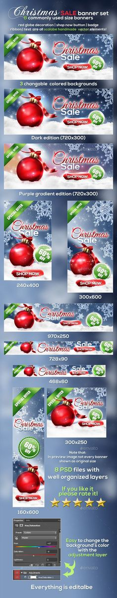 #Christmas Banner Set v2 - #Banners & Ads #Web Elements