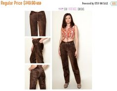 New Years 30% off Leather Pants/ 90's Vintage Brown Pants/ Country style/High Waisted Trousers/ Size S/36/ Gift idea for her/ Free Shipping by SixVintageChicks on Etsy