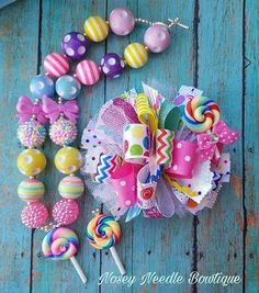 Candy hair bow, Candyland hair bow, Candy bow, Candyland necklace, Lollipop hair bow, Lollipop necklace, Candy party, Candyland party, Candy