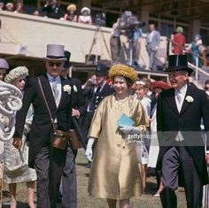 Queen Elizabeth II at Epsom Downs Racecourse for the Oaks Stakes, Surrey, 8th June 1962.