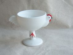 Westmoreland Milk Glass Rooster Footed Sherbet by DivaInTheDell