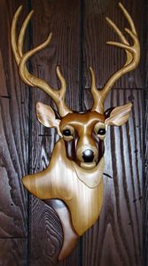 Intarsia Deer Wall Plaque