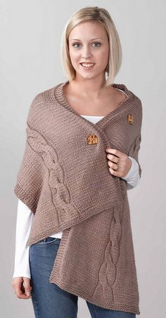 A quick and easy knit in worsted weight yarn, this wrap has one buttonhole and three buttons, so you can adjust it exactly to your fit.