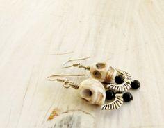 Day of the Dead Goth Cream Skull Silver Wing Pierced Dangle Earrings   Readesigns - Jewelry on ArtFire