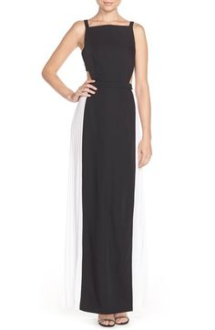 BCBGMAXAZRIA 'Brielle' Cutout Colorblock Satin Gown available at #Nordstrom