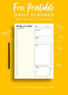 A free daily planner printable with 15 minute intervals to help you plan your day or appointments. Also includes a meal planner, to do list, priorities list and a notes section. With inspiring bright colours. Practical planners for busy bodies! To Do Lists Printable, Printable Planner Pages, Free Planner, Meal Planner, Free Printables, Planner Ideas, Printable Calendars, Weekly Planner, Planning Your Day