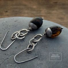 Raw sterling silver earrings, Baltic amber and silver erarrings, raw amber and…