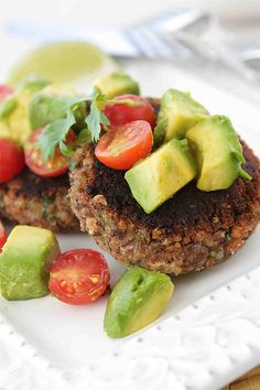 Black Bean Patties with Avocado & Tomato Salsa.  A huge hit in our house!  Hubby and I ate them as shown, for the older littles we put them on a hamburger bun and they LOVED them!  See comment below for some things I did differently.