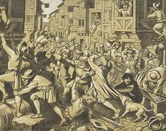 "Victor E. Penney - Chalk and Charcoal Drawing ""Plunder at the Jewish Ghetto"" 1973"